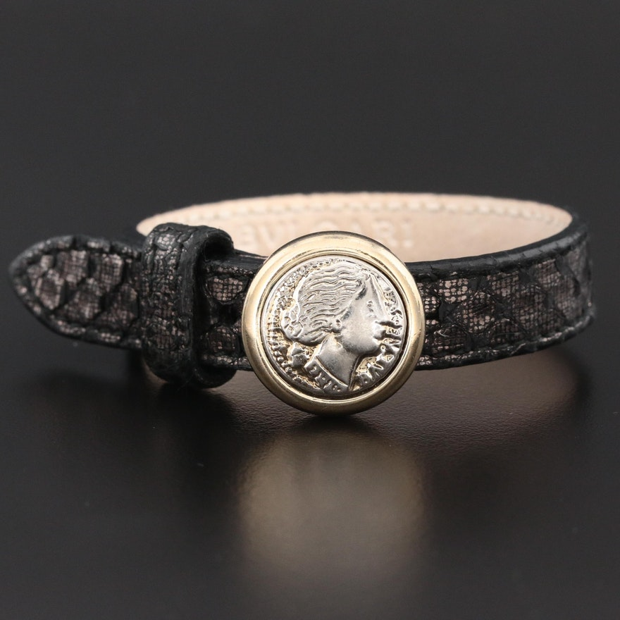 "Bvlgari ""Monete"" Leather Strap Bracelet with Coin Replica and Buckle Clasp"