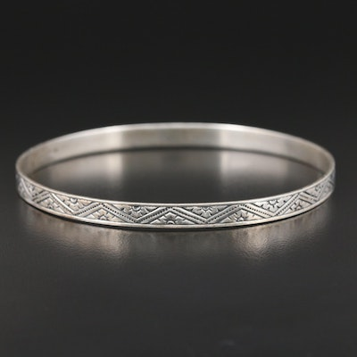 Vintage Beau Sterling Silver Patterned Bangle Bracelet