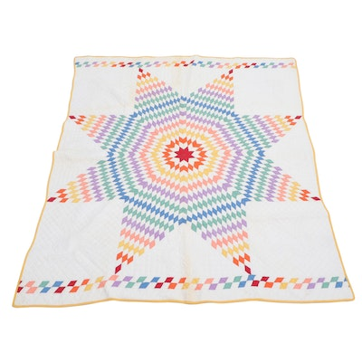 """Handcrafted """"Lone Star"""" Quilt, 20th Century"""
