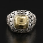 John Hardy Sterling Silver Ring with 22K Yellow Gold Center