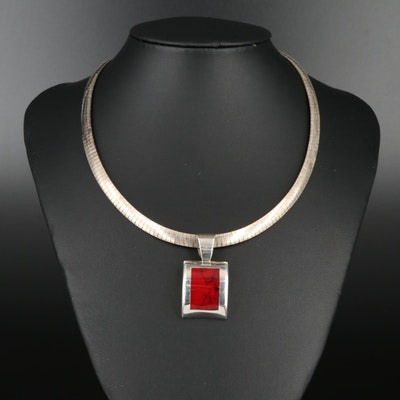 Sterling Silver Red Reconstituted Stone  Necklace