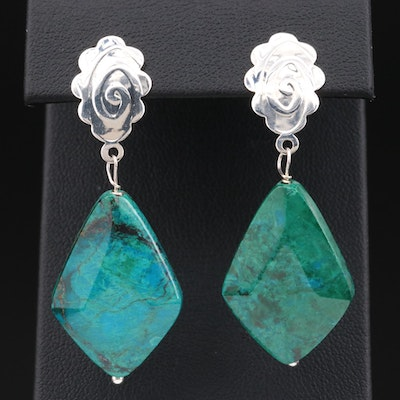 Sterling Silver Chrysocolla Dangle Earrings