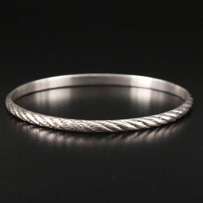 Vintage Samuel Kirk & Son Sterling Silver Oval Bangle Bracelet
