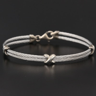 Stainless Steel Double Cable Bracelet with Sterling Silver Accents