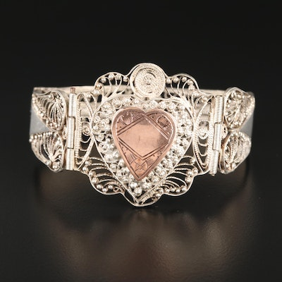 Sterling Silver Filigree Heart Motif Bracelet