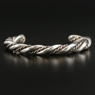 Sterling Silver Rope Twist Cuff