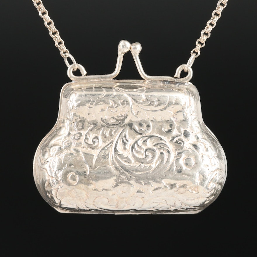 Sterling Silver Etched Purse Pendant Necklace