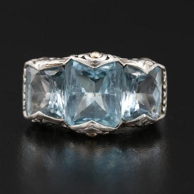 John Hardy Sterling Topaz Three Stone Ring