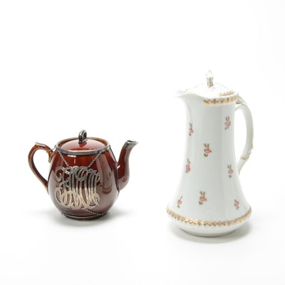 Tressemanes & Vogt Pitcher and Brown Betty Teapot with Sterling Overlay
