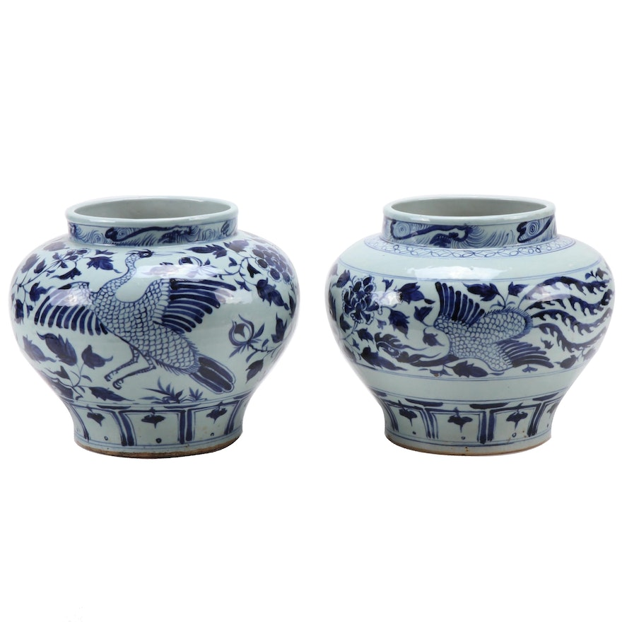 Chinese Fenghuang Hand-Painted Blue and White Jardinieres