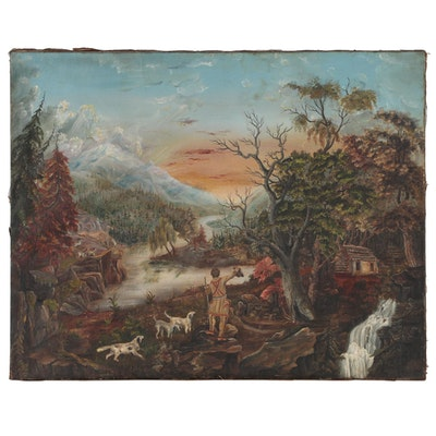 Oil Painting of an American Frontier Scene, Mid 19th Century
