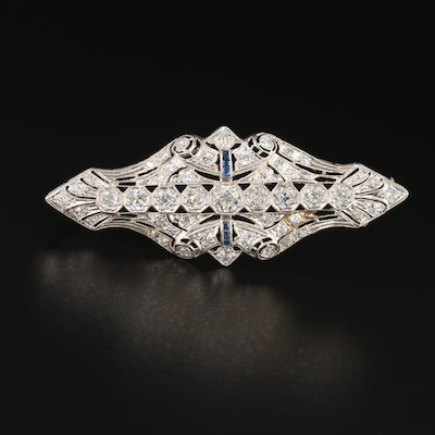 Edwardian Platinum 3.49 CTW Diamond and Sapphire Brooch