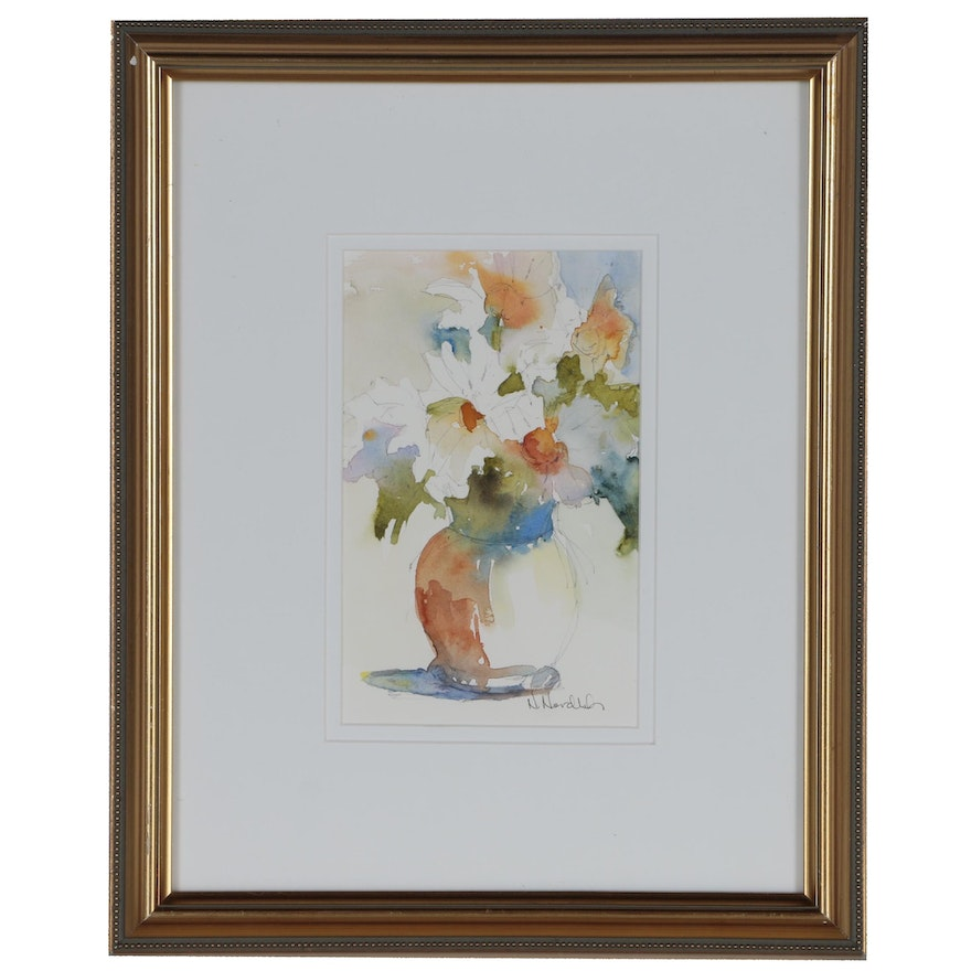 """Nancy Nordloh Neville Floral Watercolor Painting """"Blooms"""""""