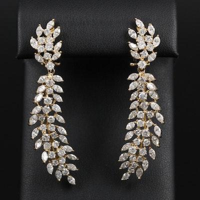 18K Yellow Gold 5.86 CTW Diamond Earrings