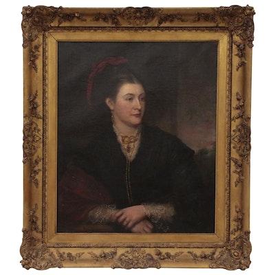 European Portrait Oil Painting, Late 19th Century