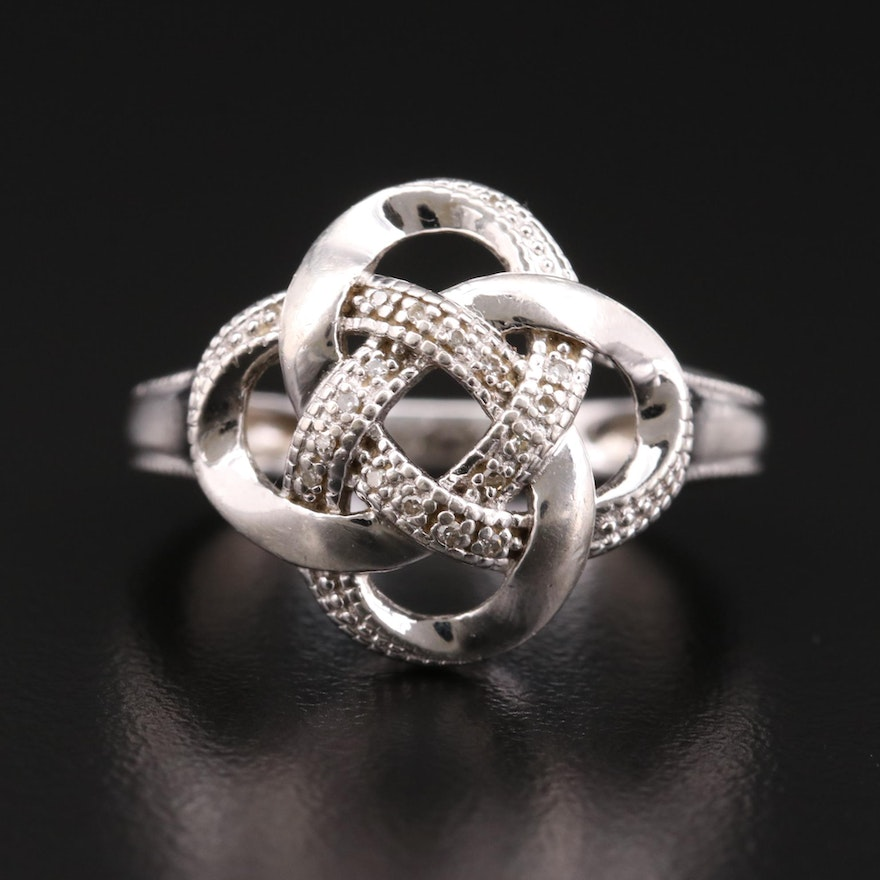 Sterling Silver Diamond Ring Featuring Knotted Design
