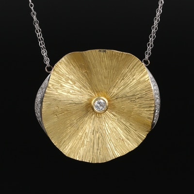 18K Gold Flower Pendant With Platinum and Diamond Edges on 14K Gold Chain