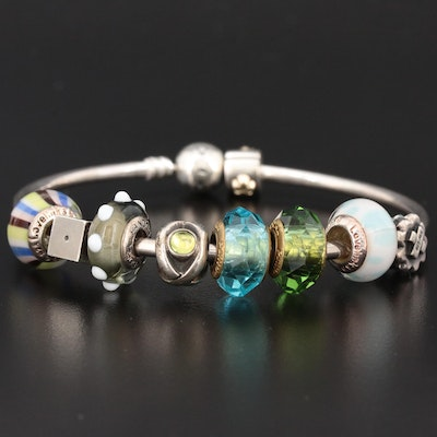 Pandora Sterling Silver Charm Bracelet with Peridot and Murano Glass