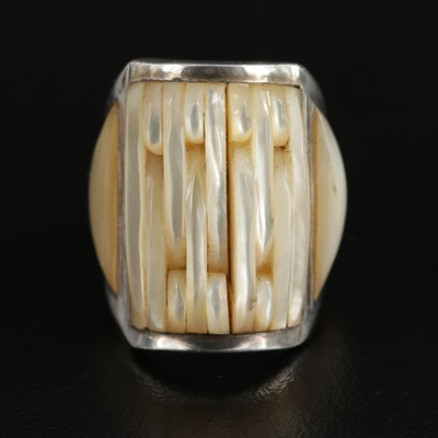 Signed Southwestern Sterling Silver Mother of Pearl Ring