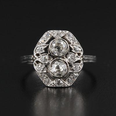 Early Art Deco Platinum 1.01 CTW Diamond Ring