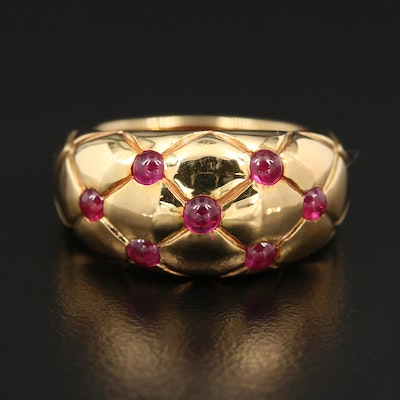 18K Gold Ruby Ring with Quilted Motif