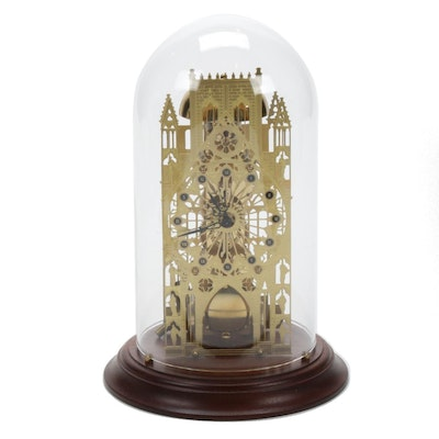 Franklin Mint Domed York Minster Brass Skeleton Clock