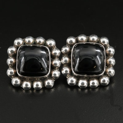 Taxco Sterling Silver Black Onyx Earrings