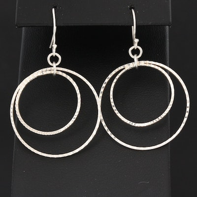 Sterling Silver Concentric Circle Dangle Earrings