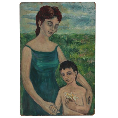 "Figural Oil Painting ""Mother + Child"""