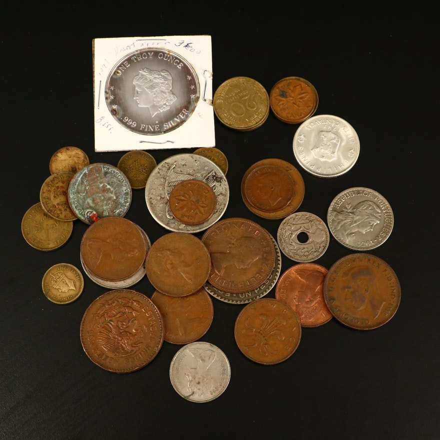 Group of Thirty-Three Vintage Foreign Coins and a Silver Round