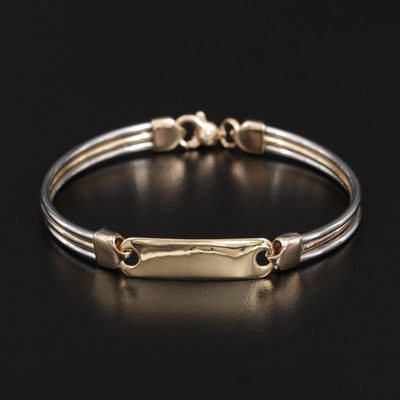 ID Bracelet with 14K Yellow Gold Accents