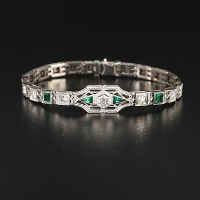 Art Deco 14K White Gold Diamond and Glass Bracelet with Platinum Top
