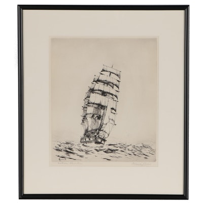 "Frederick L. Owen Nautical Drypoint Etching ""Australian Wheat Race"", 1932"
