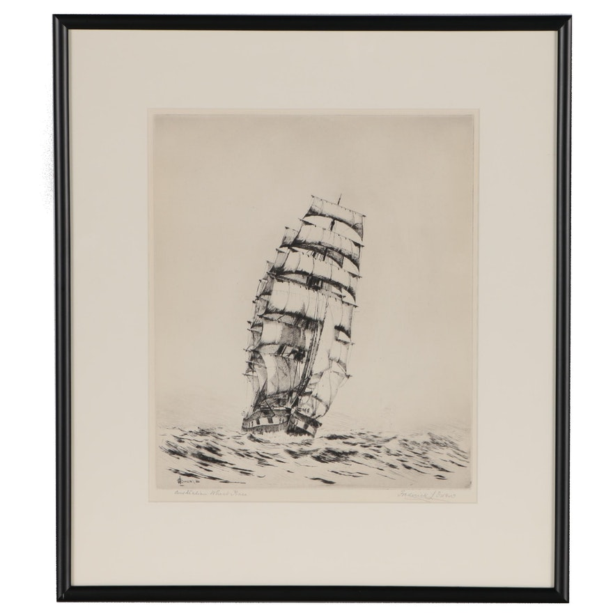 "Frederick L. Owen Nautical Drypoint Etching ""Australian Wheat Race"", 1932"