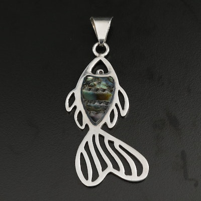 Sterling Silver Abalone Fish Motif Pendant