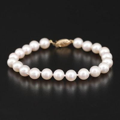 Pearl Bracelet with 14K Closure