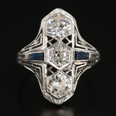 Edwardian 14K Gold 1.27 CTW Diamond and Sapphire Ring