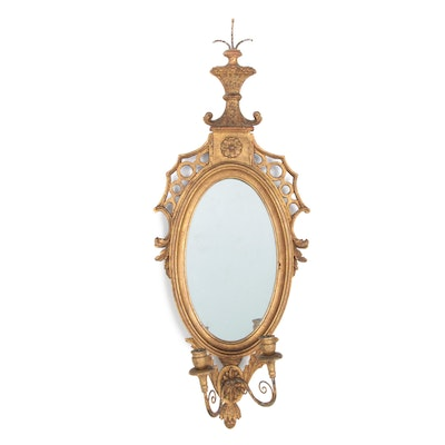 Italian Oval Giltwood Girandole Mirror, Late 19th/ Early 20th Century