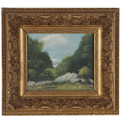 Landscape Oil Painting in Rococo Revival Frame