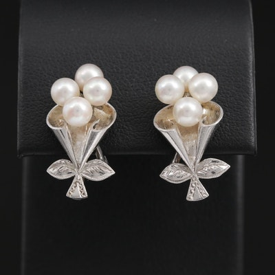 Vintage Mikimoto Non Pierced Sterling Pearl Earrings