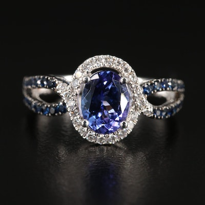 EFFY 14K White Gold 1.25 CT Tanzanite, Sapphire and Diamond Ring