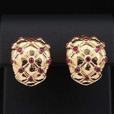 18K Gold Ruby Quilted J-Hoop Earrings