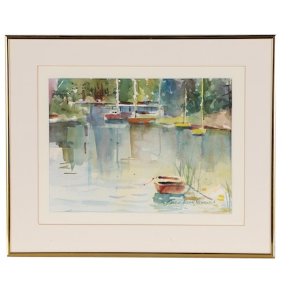 Bruce Allan Neville Dock Scene Watercolor Painting