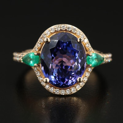 EFFY 14K Gold Tanzanite, Emerald and Diamond Ring