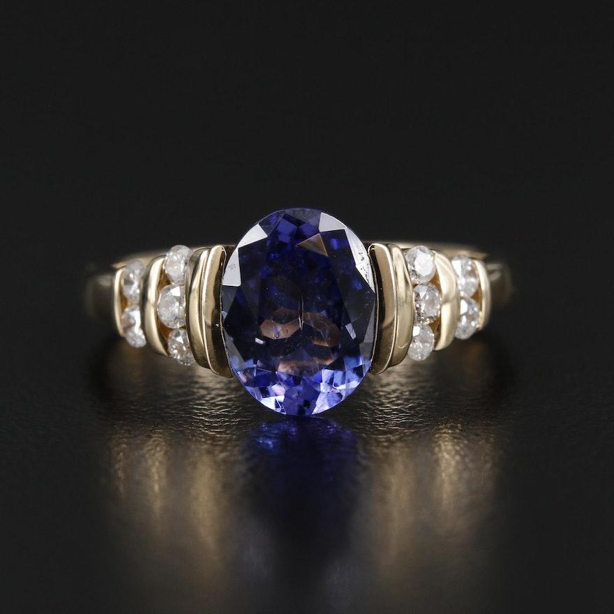 EFFY 14K Gold 1.93 CT Tanzanite and Diamond Ring