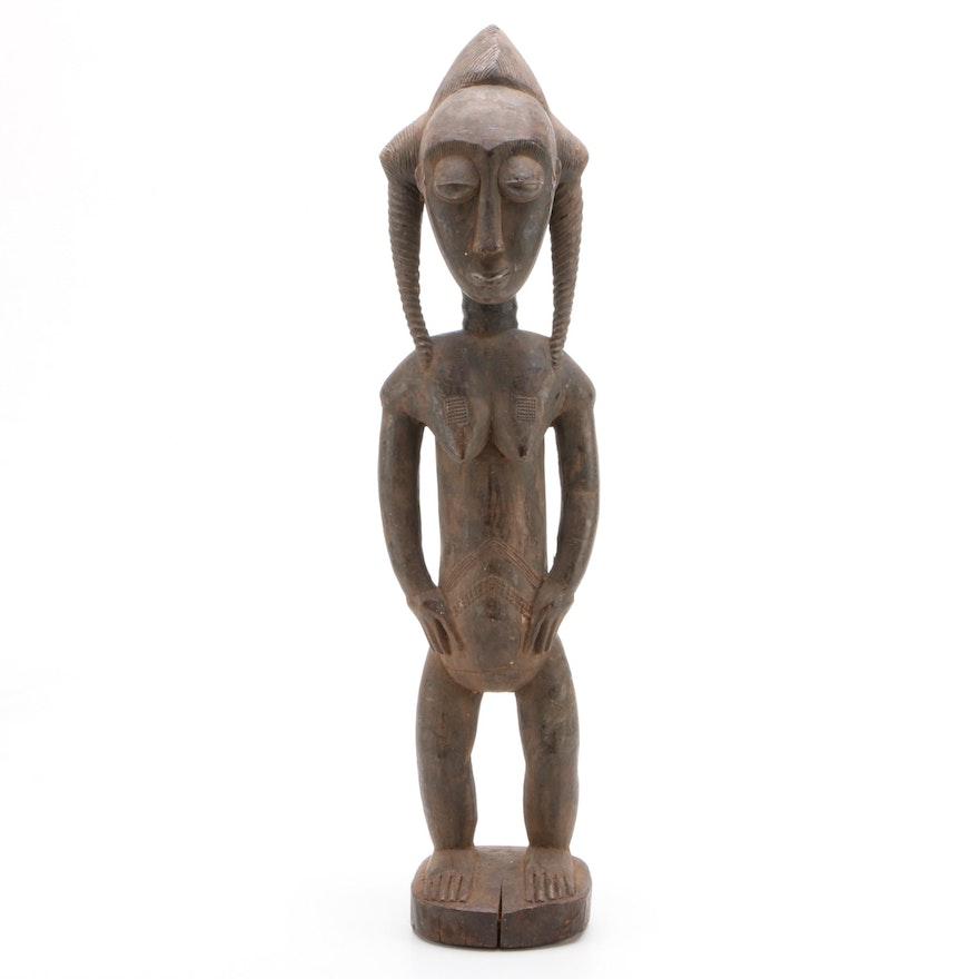 African Baule Carved Wood Female Figure