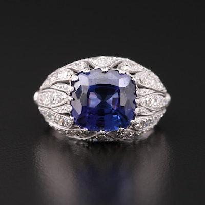 Platinum 5.64 CT Tanzanite and 1.00 CTW Diamond Ring