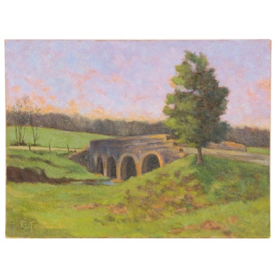 Emily Featherstone Rural Landscape with Bridge Acrylic Painting