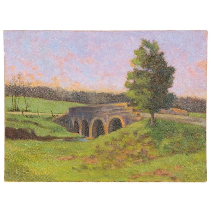 Emily Featherstone Rural Landscape with Bridge Acrylic Painting