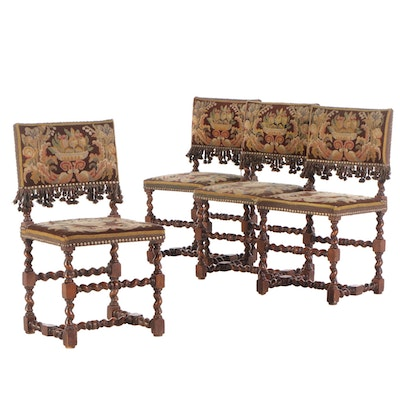 Four Jacobean Style Needlework-Upholstered Barley-Twist Side Chairs